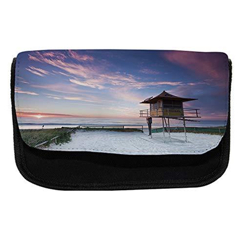 Lunarable Australia Pencil Case, Lifeguard Hut on Beach, Fabric Pen Pencil Bag with Double Zipper, 8.5