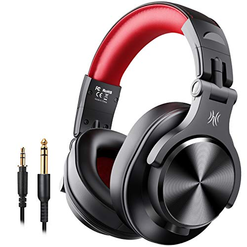 OneOdio A70 Bluetooth Over Ear Headphones, Studio Headphones with Shareport, Foldable, Wired and Wireless Professional Recording Headphones with Stereo Sound for Electric Drum Piano Guitar Amp (Red)