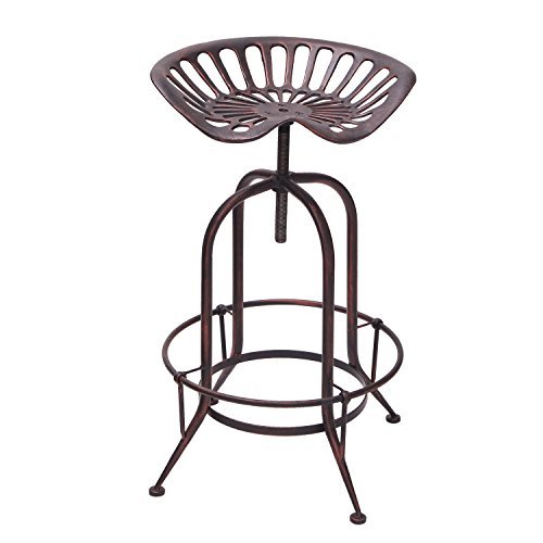 Joveco Ancient Industrial Metal Saddle Seat Adjustable Backless Bar Stool