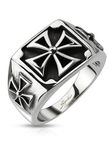 Crazy2Shop Stainless Steel Triple Celtic Cross Design Cast Ring, Width 09-14