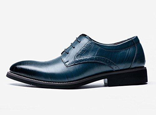 LEDLFIE Hommes Chaussures Mode Multicolore Business Cuir Chaussures Hommes Conseils Lacets Véritable Chaussures en Cuir Simples blue 4EEVzSH