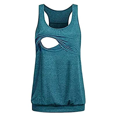 Fitfulvan Womens Maternity Loose Comfy Pull-Up Nursing Tank Tops Vest Breastfeeding Shirt Casual Soild Color Bouse B: Clothing