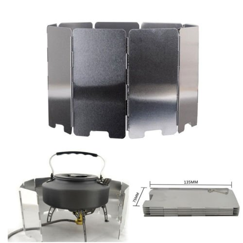 Price comparison product image TryMarket(TM) 9 Plate Foldable Burner Windshield Outdoor Camping Cooking Gas Stove Wind Cover