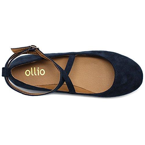 Light Cross Strap Shoe Ballet Comfort Faux Flats Suede Navy Womens Ollio w4HqE76