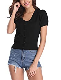 Abollria Women Button Down Short Sleeve Shurg Bolero Cropped Cardigan