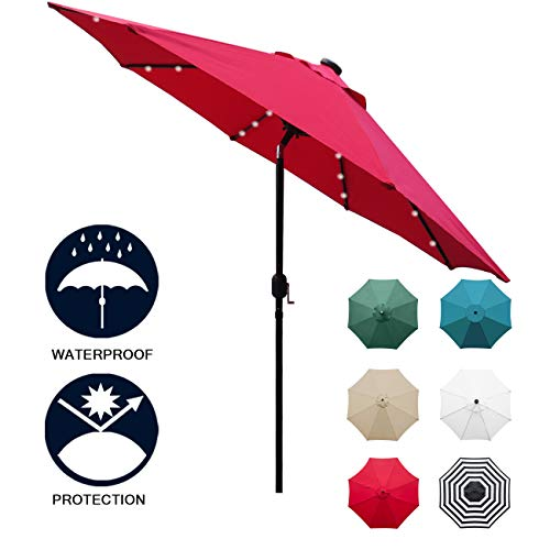 Sunnyglade 9' Solar 24 LED Lighted Patio Umbrella with 8 Ribs/ Tilt Adjustment and Crank Lift System (Red)