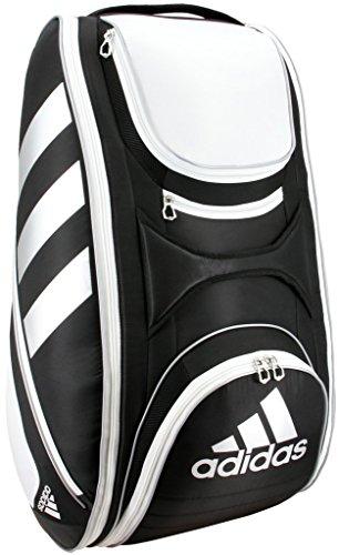 (adidas Tour Tennis 12 Racquet Bag, Black/White/Silver, One Size)