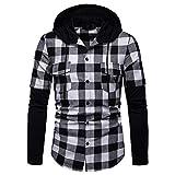 SSYUNO Men's Long Sleeve Lattice Painting Hoodie Large Size Casual Tops Novelty Color Block Hoodies Cozy Sport Outwear