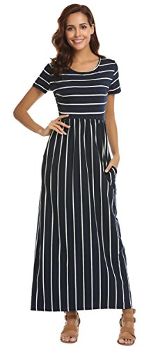 SimpleFun Womens Summer Casual Short Sleeve Striped Long Dress Pleated Loose Maxi Dress with Pockets (S, Navy Blue -