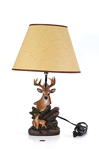 Deqogo Quality Designer Resin Hand-painted Realistic Deer Bust Lamp with Shade (Bust Lamp)