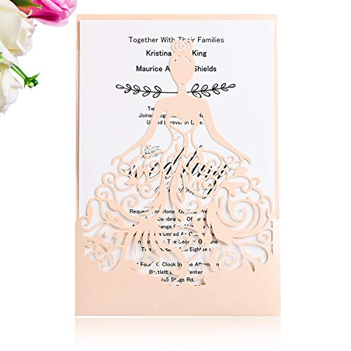 PONATIA 25PCS Laser Cut Crown Wedding Invitations Cards for Birthday Sweet 15 Quinceañera Party Invite, Wedding Bridal Engagement Invite (Blush Pink)