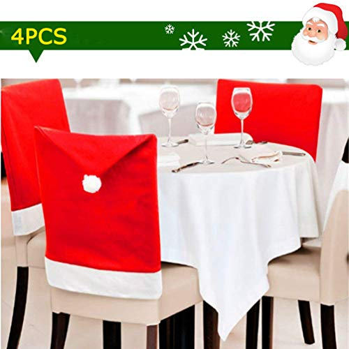 WSQIWNI Traditional Santa Claus Hat Chair Cover Red Hat Chair Back Covers Kitchen Chair Covers 4 Sets Xmas Party Dinner Table Kitchen Dining Decoration Party Dining Room Decoration (4PCS)