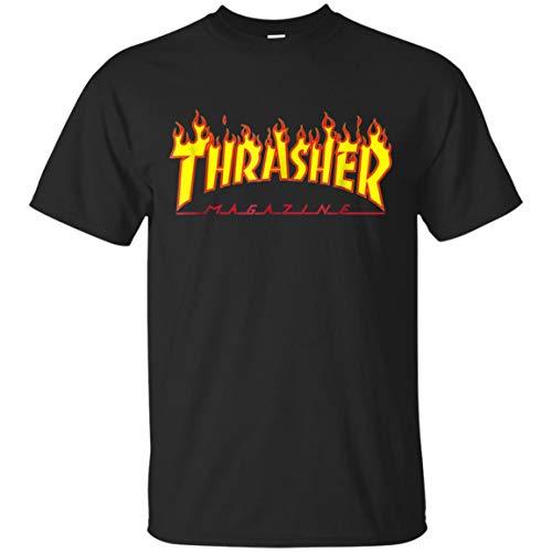 LumVeChai TEE Thrasher-Logo T-Shirt-Magazine (Unisex T-Shirt;Black;L)