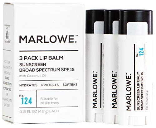MARLOWE. No. 124 Lip Balm 3-Pack with Sunscreen SPF 15 & Coconut Oil | Hydrates & Protects Dry or Chapped Lips | Mint Flavor | For Men and Women | Made with Beeswax, Coconut, Jojoba, Shea Butter, Aloe