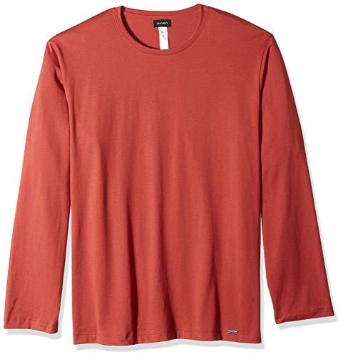 HANRO Men's Night & Day Long Sleeve Shirt, Brick Large ()
