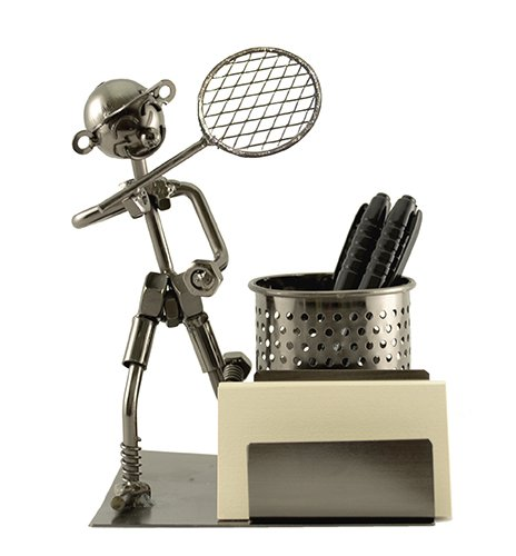 Happy Metal Tennis Player with Racket Pencil Pen and Business Card Holder Desk organizer - Tennis Business Cards