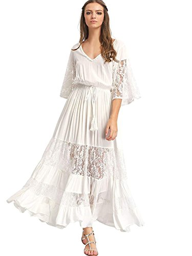 Dress In Drag For Halloween (Milumia Women's Bohemian Drawstring Waist Lace Splicing White Long Maxi Dress XX-Large)
