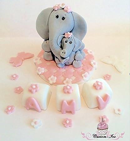 Brilliant Edible Elephant Christening Birthday Cake Topper Set 4X4 Amazon Funny Birthday Cards Online Necthendildamsfinfo