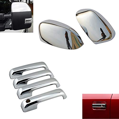 EZ Motoring Chrome Top Half Mirror Cover + 4 Door Handle Covers fit 2017-2019 Ford F250 F350 Super Duty (NOT fit F150) - Ford Chrome Handle