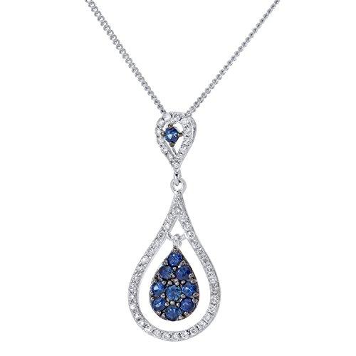 Revoni Bague en or blanc-18carats Pendentif Goutte Saphir 0,30ct et diamant avec Chaine de 46cm