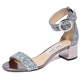 JIMMY CHOO 1924J Sandalo Donna Blue Denim/White/Silver Jaimie Glitter Shoe Woman