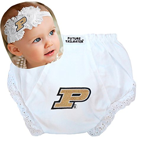 (Purdue Boilermakers Baby Diaper Cover and Shabby Bow Headband Set (6-12 months/15
