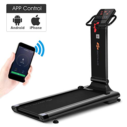 Goplus Electric Folding Treadmill, Free-Install Design, with APP Control and Touch Screen, Adjustable Incline and 90° Folding Running Machine, Perfect for Home use (Black)