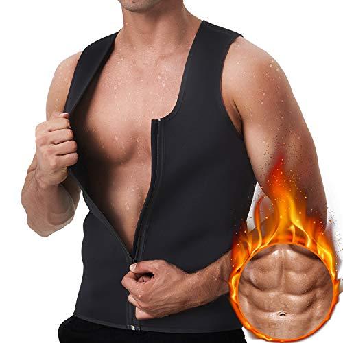 GKVK Men Waist Trainer Vest for Weightloss Hot Neoprene Corset Body Shaper Zipper Sauna Tank Top Workout Shirt ()