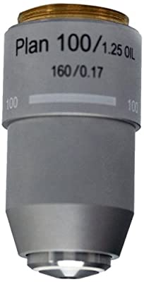 National Optical 799-160P 100XR DIN Plan Achromat Objective Lens, N.A. 1.25, For 160 Microscopes from National Optical & Scientific Instruments Inc