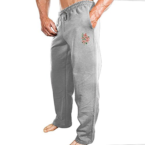 Dingme Pink Flower Men's Sweatpants 3X Ash