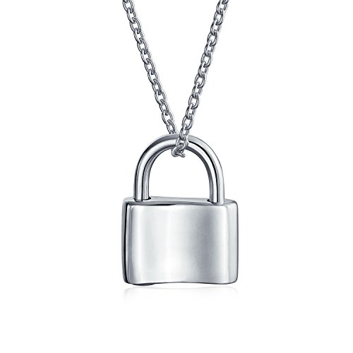Functional Lock Pendant Charm Polished 925 Sterling Silver Engravable Necklace For Women Chain 16 Inches ()