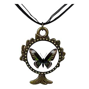 Chicforest Bronze Retro Style Beautiful Lovely Butterfly The Tree Of Life And Wishing Pendant