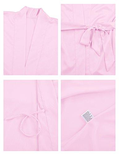 SIORO Mujer satén vestido pijama vestido pijama Suaves Ropa Dormir Camisón Lencería corto Rosa