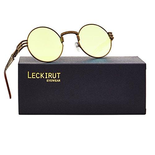 Leckirut Men Women Steampunk Sunglasses Lennon Round Vintage Circle Glasses Metal Frame Mirror Lens brown frame/yellow lens