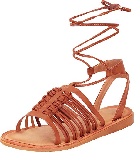 Cambridge Select Women's Strappy Caged Crisscross Ankle Tie Flat Gladiator Sandal (8.5 B(M) US, Brown PU)