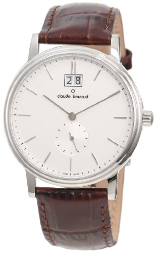 Claude Bernard Men's 64010 3 AIN Classic Gents Silver Dial Brown Leather Date Watch