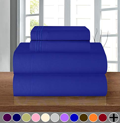 Elegant Comfort Luxury Soft 1500 Thread Count Egyptian Quality 3-Piece Sheet Wrinkle and Fade Resistant Bedding Set, Deep Pocket up to 16inch, Twin/Twin XL, Royal Blue (Elegant Bedding Blue)