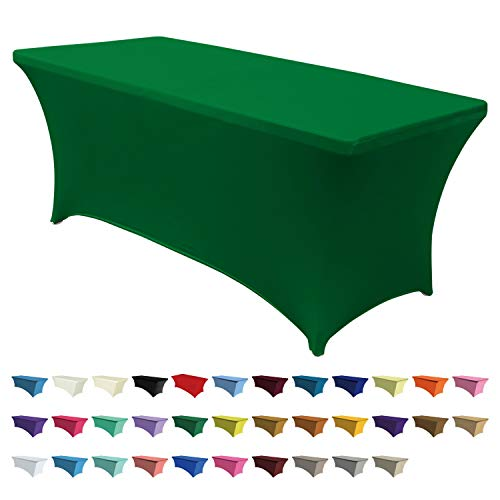 ABCCANOPY 30+ Colors Spandex Table Cover 6 ft. Fitted Polyester Tablecloth Stretch Spandex Tablecover-Table Toppers(Forest Green) (Table Cloths Fabric Green)