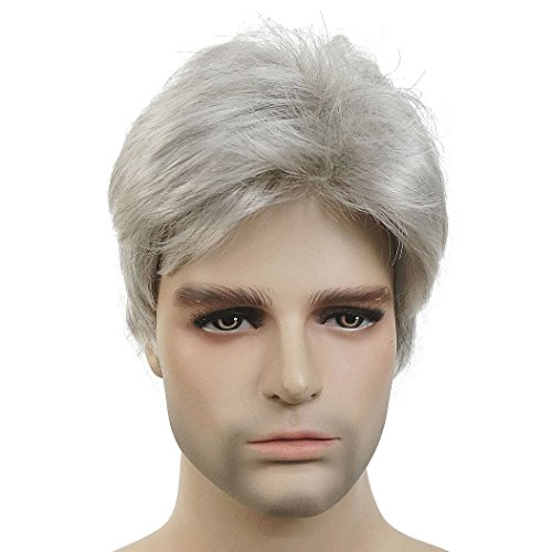 Lydell Men Wig Natural Short Straight Hair Synthetic Full Wigs (#51Silver Grey) (Hair Grey Wig Synthetic)