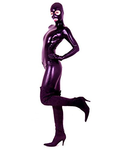 AvaCostume Women's Black Full Bodysuit Latex Catsuit Unitard, XL, Darkblue by AvaCostume