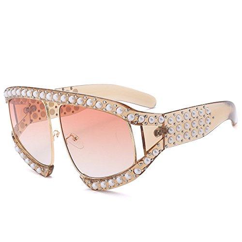 Girls Sunglasses Women Oversized Fashion Pearl Brand Designer Shades (Pink Pearl Shades)