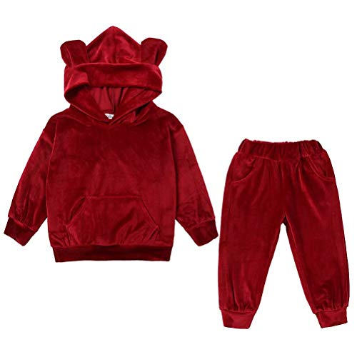 (Tsyllyp Baby Boys Girls Fall Velvet Outfit Pocket Winter Hooded Jackets Pants)