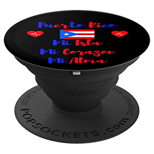 Puerto Rico Flag Mi Isla Corazon Alma Heart Rican Women Girl - PopSockets Grip and Stand for Phones and Tablets