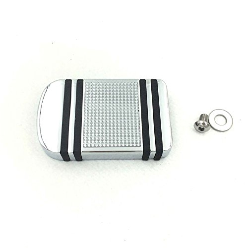 Chrome Aluminum Edge Cut Brake Pedal Pad Cover For Harley Davidson 2012-later Dyna FLD/1986-later FL Softail/ 1980-later Touring ()