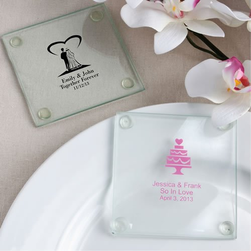 Personalized Wedding Coasters (240PC FC3206S Personalized Glass Coasters Wedding Baby Shower Favors & Accessori)
