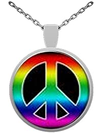 Peace Sign Symbol 1 inch Glass Pendant With 24 inch Silver Plated Chain
