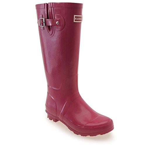 Kangol Mujeres Tall Wellies Ladies Wellington Botas Caucho Lluvia Diseño Zapatos Berry
