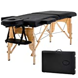 New Black 73' Portable Massage Table w/Free Carry Case Chair Bed Spa...