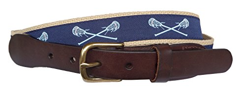 - No27 Mens Light Blue Lacrosse on Navy Ribbon and Khaki Leather Belt, Leather Tab and Buckle, Carolina Lacrosse Leather Belt