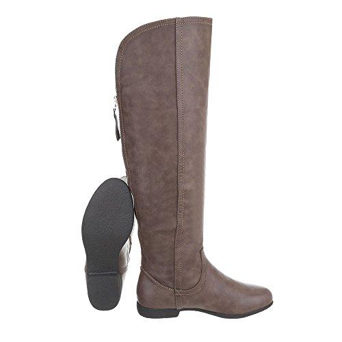Blockabsatz Damen Stiefel Hellbraun Overknee Schuhe wnfB0